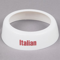 Tablecraft CM4 Imprinted White Plastic Italian Salad Dressing Dispenser Collar with Maroon Lettering