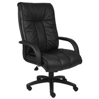 Boss B9302 Black Italian Leather High Back Executive Chair with Knee Tilt
