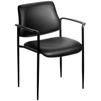 Boss B9503-CS Diamond Black Caressoft Square Back Stacking Chair with Arms