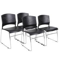 Boss B1400-BK-4 Black Stack Chair with Chrome Frame - 4/Pack