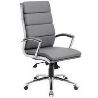 Boss B9471-GY Grey CaressoftPlus Executive Chair with Metal Chrome Finish