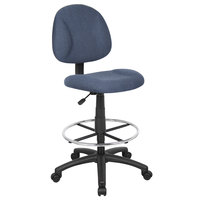 Boss B1615-BE Blue Armless Drafting Stool with Footring