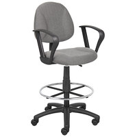 Boss B1617-GY Grey Drafting Stool with Footring and Loop Arms