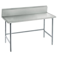 Advance Tabco TVKG-245 24 inch x 60 inch 14 Gauge Open Base Stainless Steel Commercial Work Table with 10 inch Backsplash