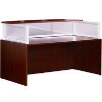 Boss N269G-M Mahogany Laminate / Plexiglass Reception Desk Shell - 71 inch x 36 inch x 43 1/2 inch