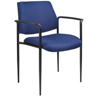Boss B9503-BE Diamond Blue Square Back Stacking Chair with Arms