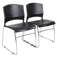 Boss B1400-BK-2 Black Stack Chair with Chrome Frame - 2/Pack