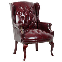 Boss B809-BY Traditional Series Burgundy Wingback Guest Chair