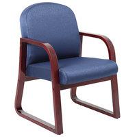 Boss B9570-BE Blue Fabric Mahogany Frame Side Chair