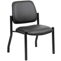 Boss B9595AM-BK Black Antimicrobial Armless Guest Chair