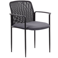 Boss B6909-GY Grey Mesh Stackable Guest Chair with Arms