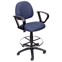Boss B1617-BE Blue Drafting Stool with Footring and Loop Arms