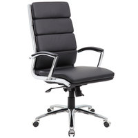 Boss B9471-BK Black CaressoftPlus Executive Chair with Metal Chrome Finish