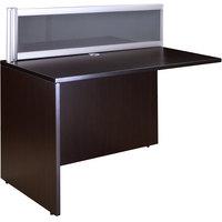 Boss N280G-MOC Mocha Laminate / Plexiglass Reversible Reception Return Desk - 36 inch x 24 inch x 42 1/2 inch