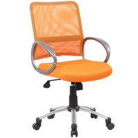 Boss B6416-OR Orange Mesh Task Chair with Pewter Finish and Casters