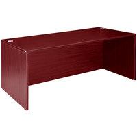 Boss N102-M Mahogany Laminate Desk Shell - 66 inch x 30 inch x 29 inch