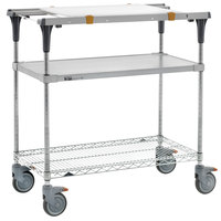 Metro MS1830-FGBR-PK1 PrepMate MultiStation with Cutting Board and Galvanized and Brite Zinc Wire Shelving - 32 inch x 19 3/8 inch x 39 1/8 inch