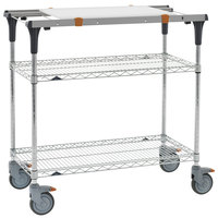 Metro MS1830-BRBR-PK1 PrepMate MultiStation with Cutting Board and Brite Zinc Wire Shelving - 32 inch x 19 3/8 inch x 39 1/8 inch