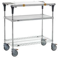 Metro MS1836-FGBR-PK1 PrepMate MultiStation with Cutting Board and Galvanized and Brite Zinc Wire Shelving - 38 inch x 19 3/8 inch x 39 1/8 inch