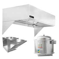 Halifax 421SCHP1248 Type 1 12' x 48 inch Commercial Kitchen Hood System with Short Cycle Makeup Air