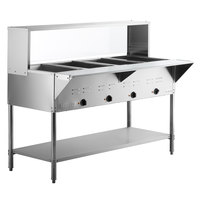 ServIt Four Pan Open Well Electric Steam Table with Undershelf, Overshelf, and Sneeze Guard - 120V, 2000W