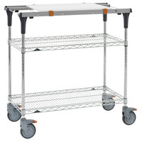 Metro MS1836-BRBR-PK1 PrepMate MultiStation with Cutting Board and Brite Zinc Wire Shelving - 38 inch x 19 3/8 inch x 39 1/8 inch