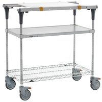 Metro MS1848-FGBR-PK1 PrepMate MultiStation with Cutting Board and Galvanized and Brite Zinc Wire Shelving - 50 inch x 19 3/8 inch x 39 1/8 inch