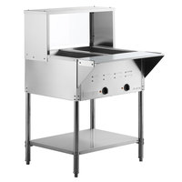 ServIt Two Pan Open Well Electric Steam Table with Undershelf, Overshelf, and Sneeze Guard - 120V, 1000W