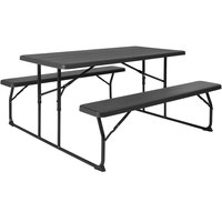 Flash Furniture RB-EBB-1470FD-GG 53 3/4 inch x 58 1/4 inch Charcoal Plastic Folding Table with 2 Benches