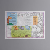 Choice 10 inch x 14 inch Kids Zoo Themed Interactive Placemat - 1000/Case