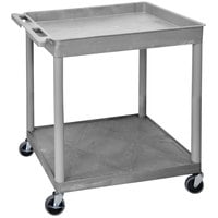 Luxor TC12-G Large Gray 1 Tub and 1 Flat Shelf Utility Cart - 32 inch x 24 inch x 35 3/4 inch
