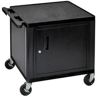 Luxor LP26C-B Black 2 Shelf A/V Cart with Locking Cabinet - 24 inch x 18 inch x 26 inch