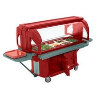Cambro VBRU5158 Hot Red 5' Versa Ultra Food / Salad Bar with Storage and Standard Casters