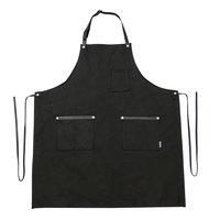 Hardmill Black Waxed Canvas Full Length Bib Apron with 2 Pockets - 34 inchL x 29 inchW