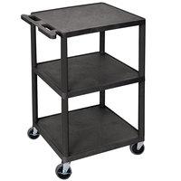Luxor HE42-B Black 3 Shelf Utility Cart - 24 inch x 18 inch x 43 inch