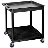 Luxor TC12-B Large Black 1 Tub and 1 Flat Shelf Utility Cart - 32 inch x 24 inch x 35 3/4 inch