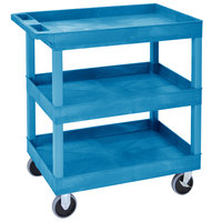 Luxor EC111HD-BU Blue Three Tub Shelf Utility Cart - 18 inch x 35 1/4 inch x 37 1/4 inch
