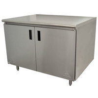 Advance Tabco HB-SS-243 24 inch x 36 inch 14 Gauge Enclosed Base Stainless Steel Work Table with Hinged Doors