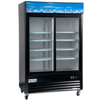 Avantco GDS-33-HCB 40 inch Black Sliding Glass Door Merchandiser Refrigerator with LED Lighting