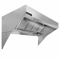 Halifax LSCHP1648 Type 1 16' x 48 inch Low Ceiling Sloped Front Commercial Kitchen Hood System with Short Cycle Makeup Air