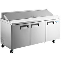 Avantco APT-71-HC 71 inch 3 Door Refrigerated Sandwich Prep Table