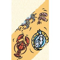 8 1/2 inch x 14 inch Menu Paper - Seafood Themed Buffet Design Cover - 100/Pack
