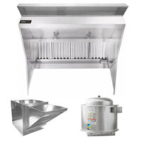 Halifax LPSHP1048 Type 1 10' x 48 inch Low Ceiling Sloped Front Commercial Kitchen Hood System with PSP Makeup Air