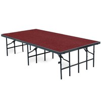 National Public Seating S4816C Single Height Portable Stage with Red Carpet - 48 inch x 96 inch x 16 inch