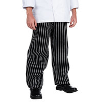 Chef Revival P040WS Size L Black EZ Fit Chef Pants with White Pinstripes - Poly-Cotton Blend