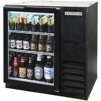 Beverage-Air BB36HC-1-FG-B 36 inch Black Food Rated Glass Door Back Bar Refrigerator