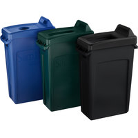 Rubbermaid Slim Jim 23 Gallon 3-Stream Recycle Station with Label Kit and Black Open Top, Blue Bottle / Can, and Green Paper Lids