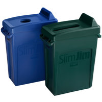 Rubbermaid Slim Jim 16 Gallon 2-Stream Recycle Station with Label Kit and Green Paper and Blue Bottle / Can Lids