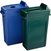 Rubbermaid Slim Jim 23 Gallon 2-Stream Recycle Station with Label Kit and Blue Bottle / Can and Green Paper Lids