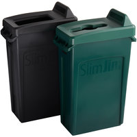 Rubbermaid Slim Jim 23 Gallon 2-Stream Recycle Station with Label Kit and Green Mixed Recycle and Black Open Top Lids